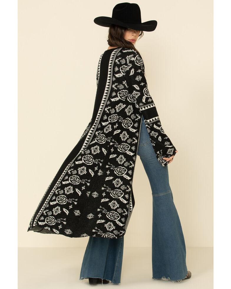 Powder River Outfitters Women's Jacquard Floral Long Cardigan , Black, hi-res