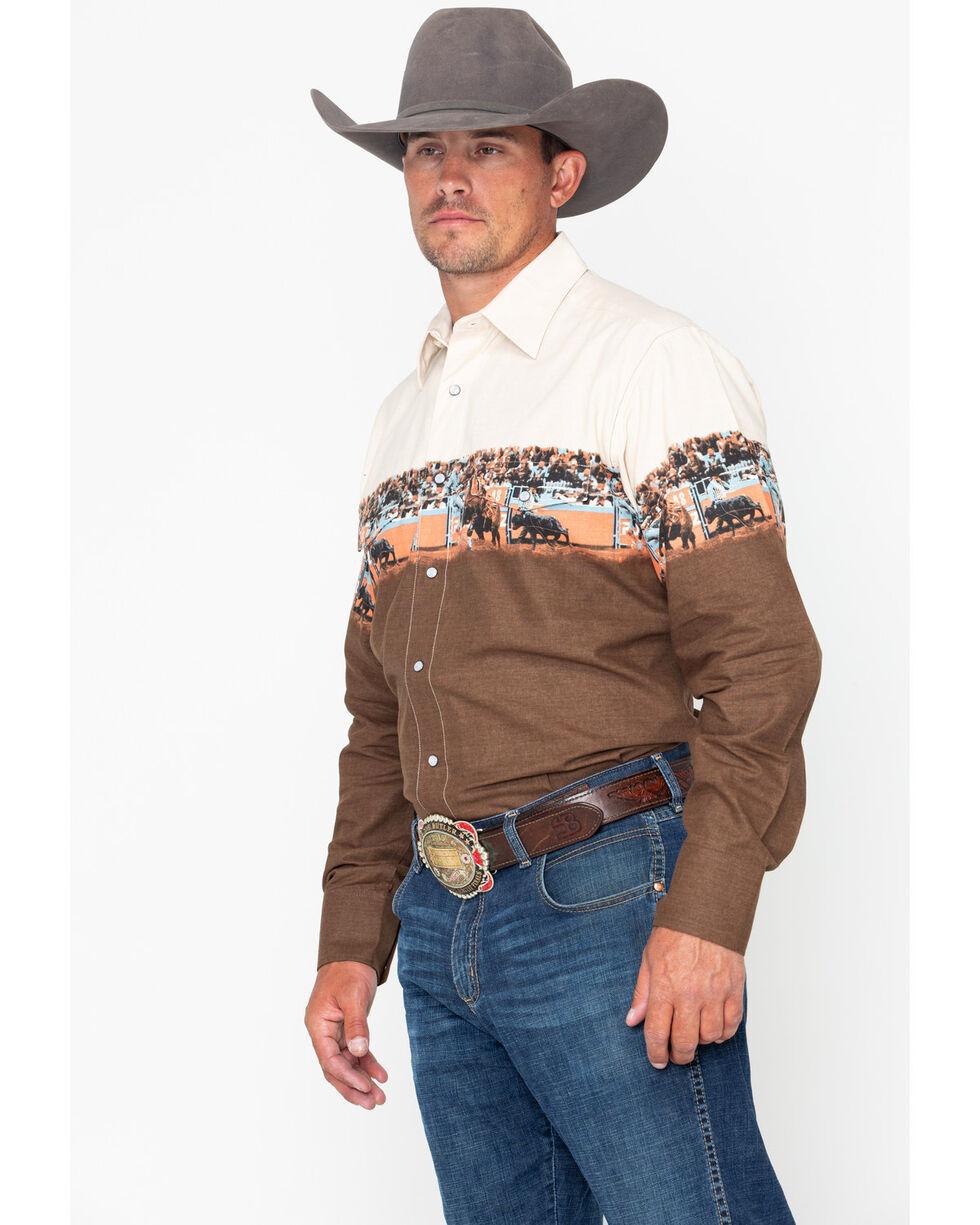 Panhandle Men's Cattle Scenic Border Long Sleeve Western Shirt, Tan, hi-res