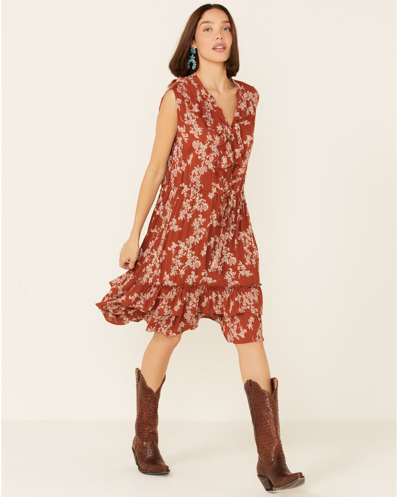 Nostalgia Women's Floral Button Ruffle Dress, Rust Copper, hi-res