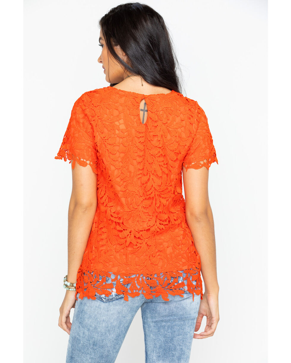 Polagram Women's Floral Lace Short Sleeve Shirt, Bright Orange, hi-res