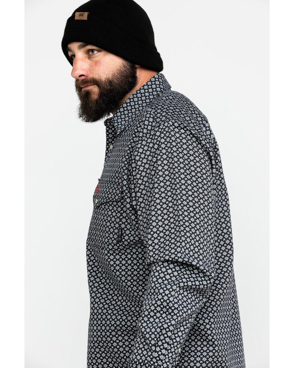 Ariat Men's FR Fulmar Print Snap Long Sleeve Work Shirt , Black, hi-res