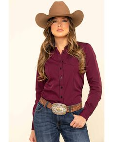 Cinch Women's Dark Fuchsia Stripe Button Long Sleeve Western Shirt, Dark Pink, hi-res