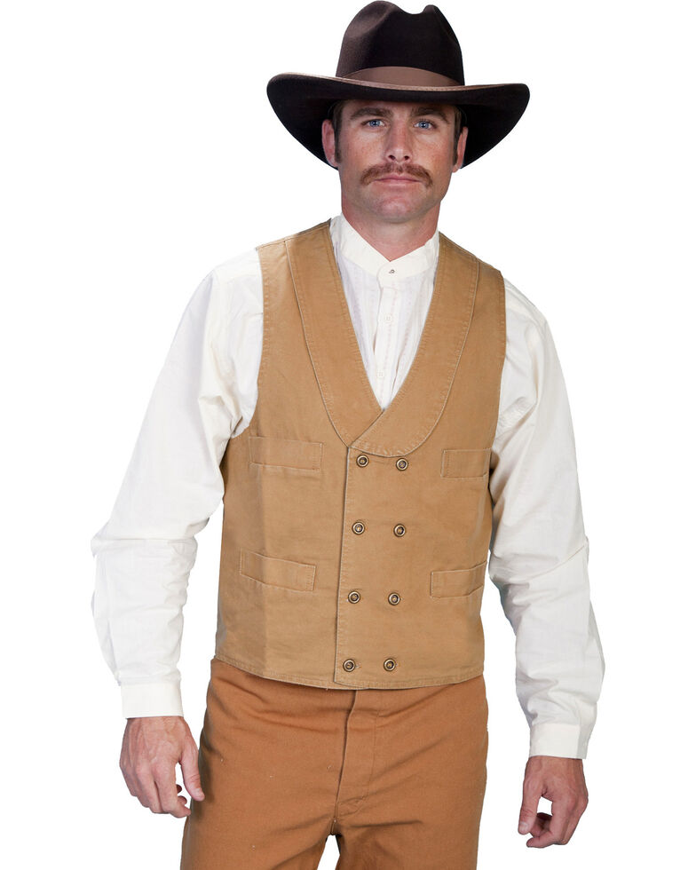 Rangewear by Scully Cotton Canvas Double Breasted Vest - Big & Tall, Brown, hi-res