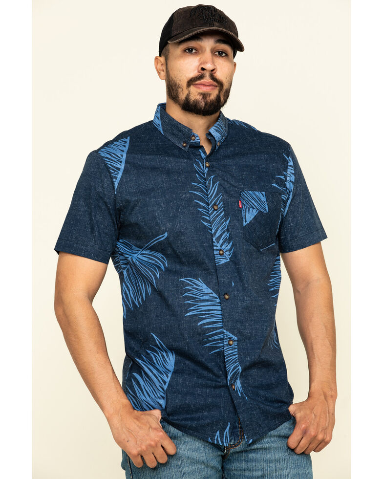 Levi's Men's Navy Windsor Palm Print Short Sleeve Western Shirt , Navy, hi-res