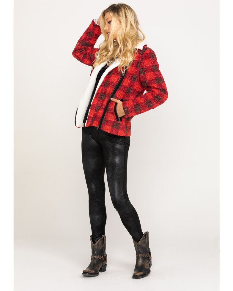 Idyllwind Women's Lumber Jill Faux Sherpa Moto Jacket, Black/red, hi-res