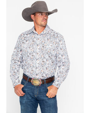 Panhandle Men's Floral Antique Print Long Sleeve Western Shirt , White, hi-res