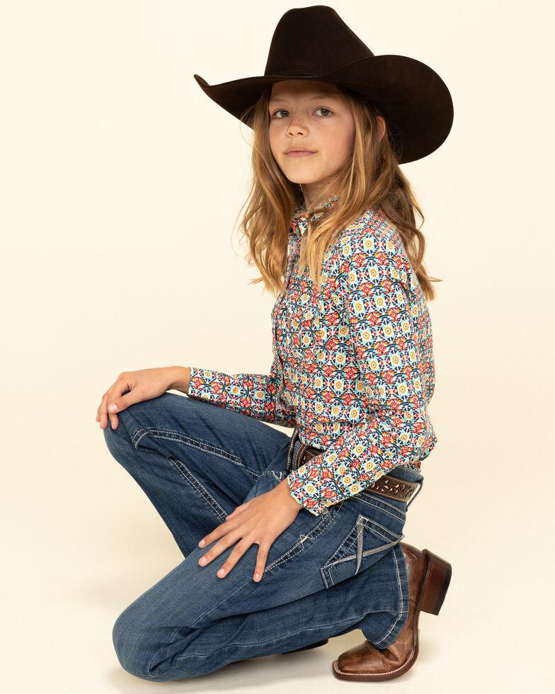 Cruel Girl Girls' Aztec Print Snap Long Sleeve Shirt, Multi, hi-res