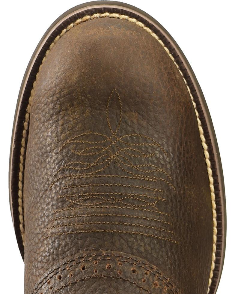 "Justin Men's 11"" Stampede Cattleman Western Boots, Dark Brown, hi-res"