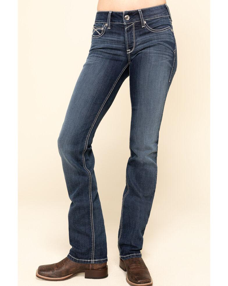 Ariat Women's Dark Wash R.E.A.L Arrow Fit Lucia Straight Jeans, Blue, hi-res
