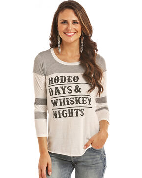 Rock & Roll Cowgirl Women's Rodeo Days Baseball Tee, White, hi-res