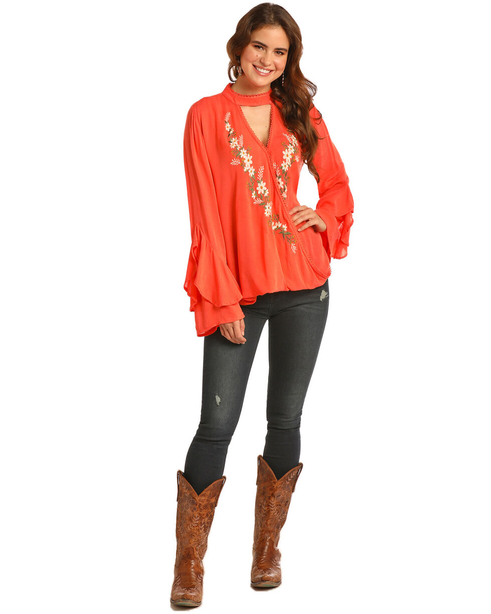 Rock & Roll Cowgirl Women's Cascade Ruffle Long Sleeve Top, Coral, hi-res
