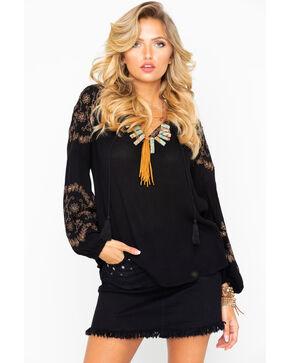 Bila Women's Peasant Embroidered Tassel Long Sleeve Top , Black, hi-res