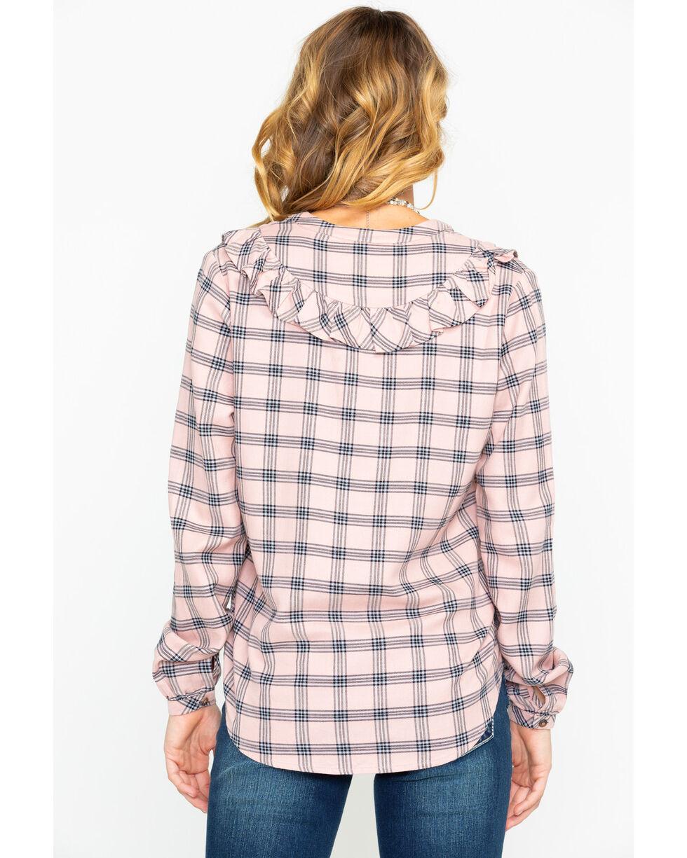 Shyanne Women's Plaid Ruffle Front Blouse, Blush, hi-res