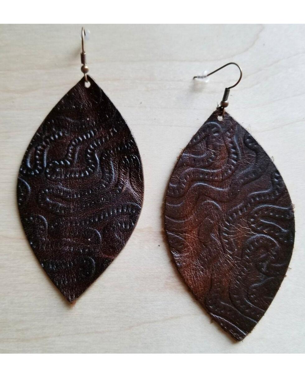 Jewelry Junkie Women's Brown Embossed Oval Leather Earrings, Brown, hi-res