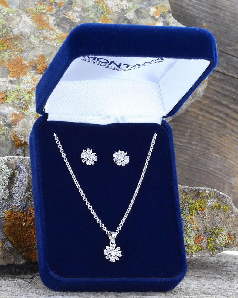 Montana Silversmiths Women's Simply Brilliant Flower Jewelry Set , Silver, hi-res