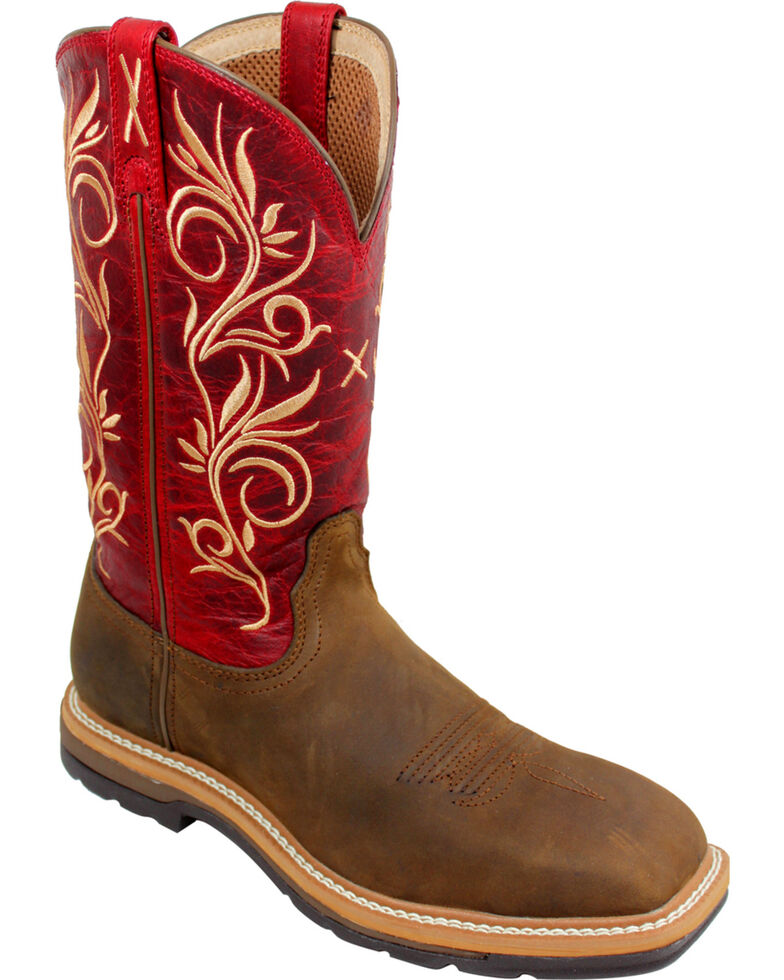 Twisted X Red Lite Cowgirl Work Boots - Steel Toe , Distressed, hi-res