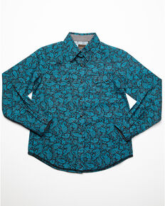 Roper Girls' Paisley Printed Snap Long Sleeve Shirt, Blue, hi-res