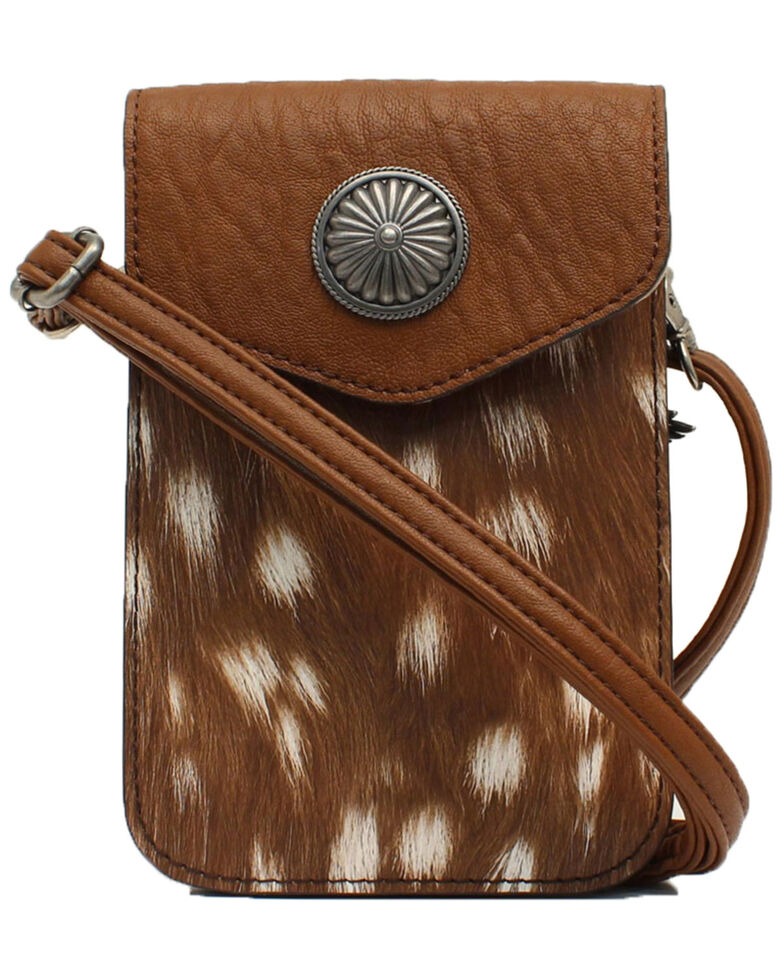 Angel Ranch Women's Cell Phone Crossbody, Brown, hi-res