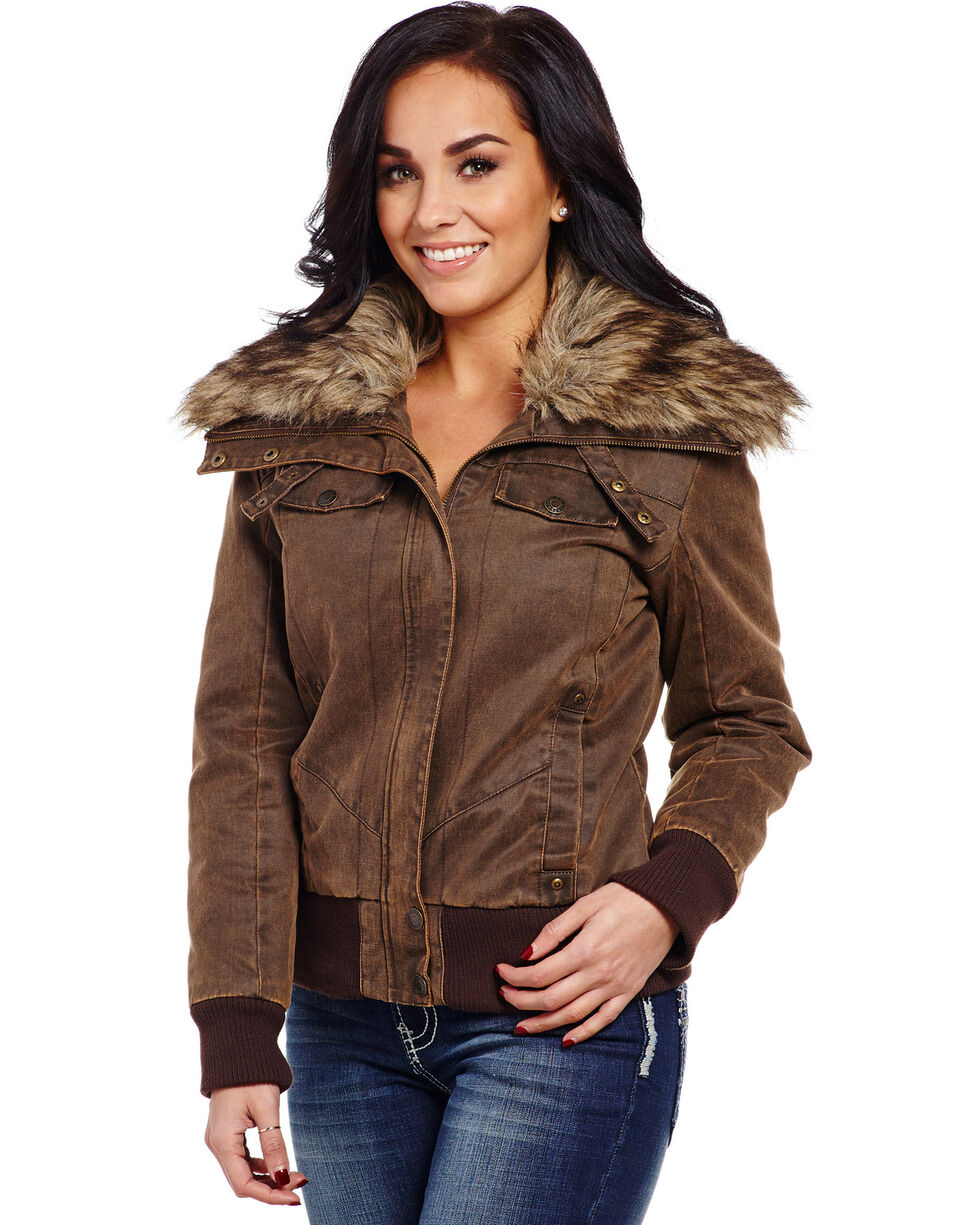 Cripple Creek Women's Banded Bottom Fur Collar Jacket, Antique Chocolate, hi-res