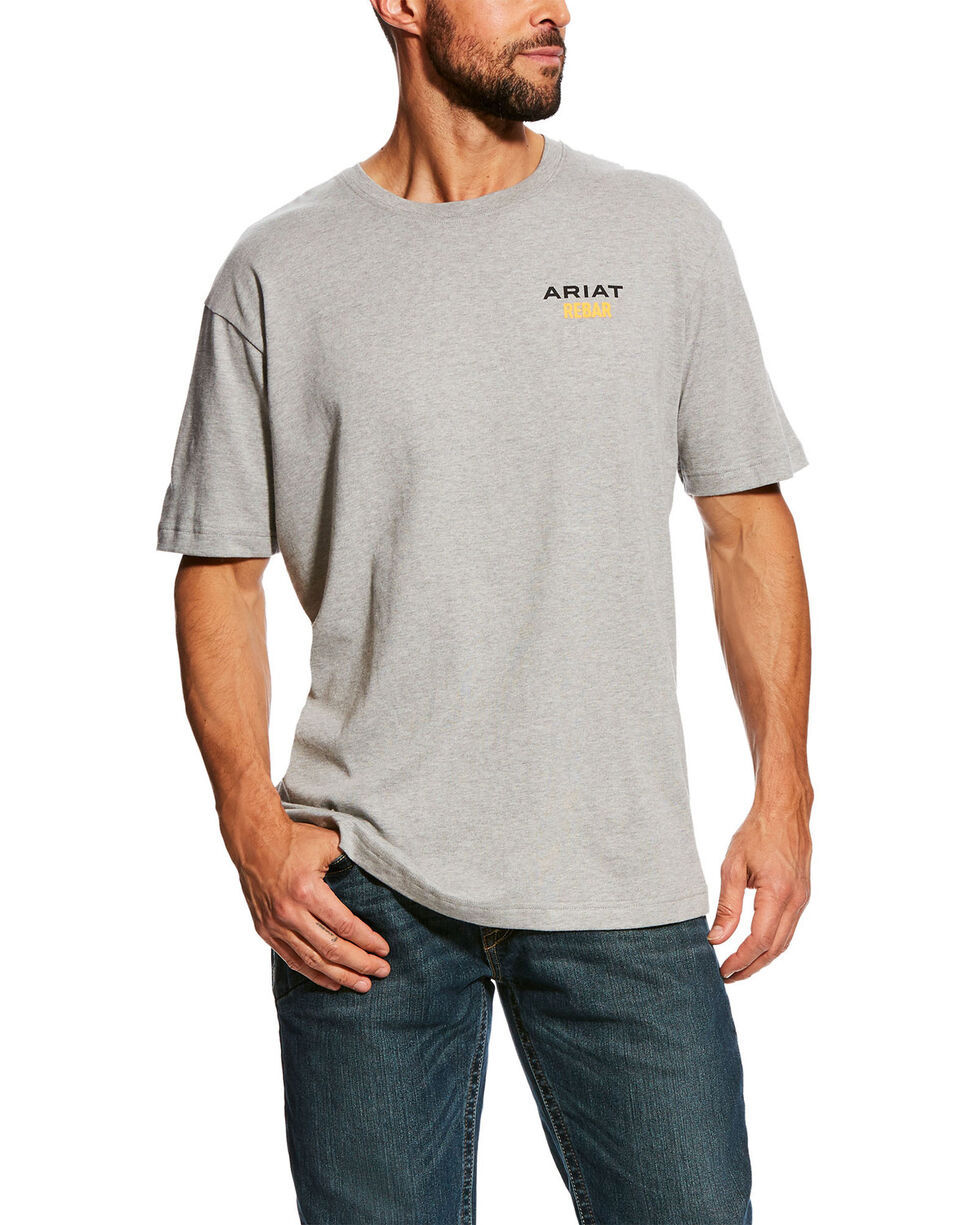 Ariat Men's Grey Rebar Cotton Strong Short Sleeve Logo Crew T-Shirt - Tall , Heather Grey, hi-res