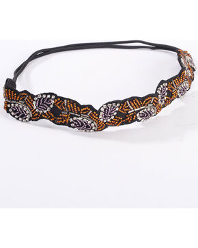 Shyanne Women's Beaded Leaf Elastic Back Headband, Black, hi-res