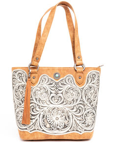Shyanne Women's Tooled Leather Tote, Brown, hi-res