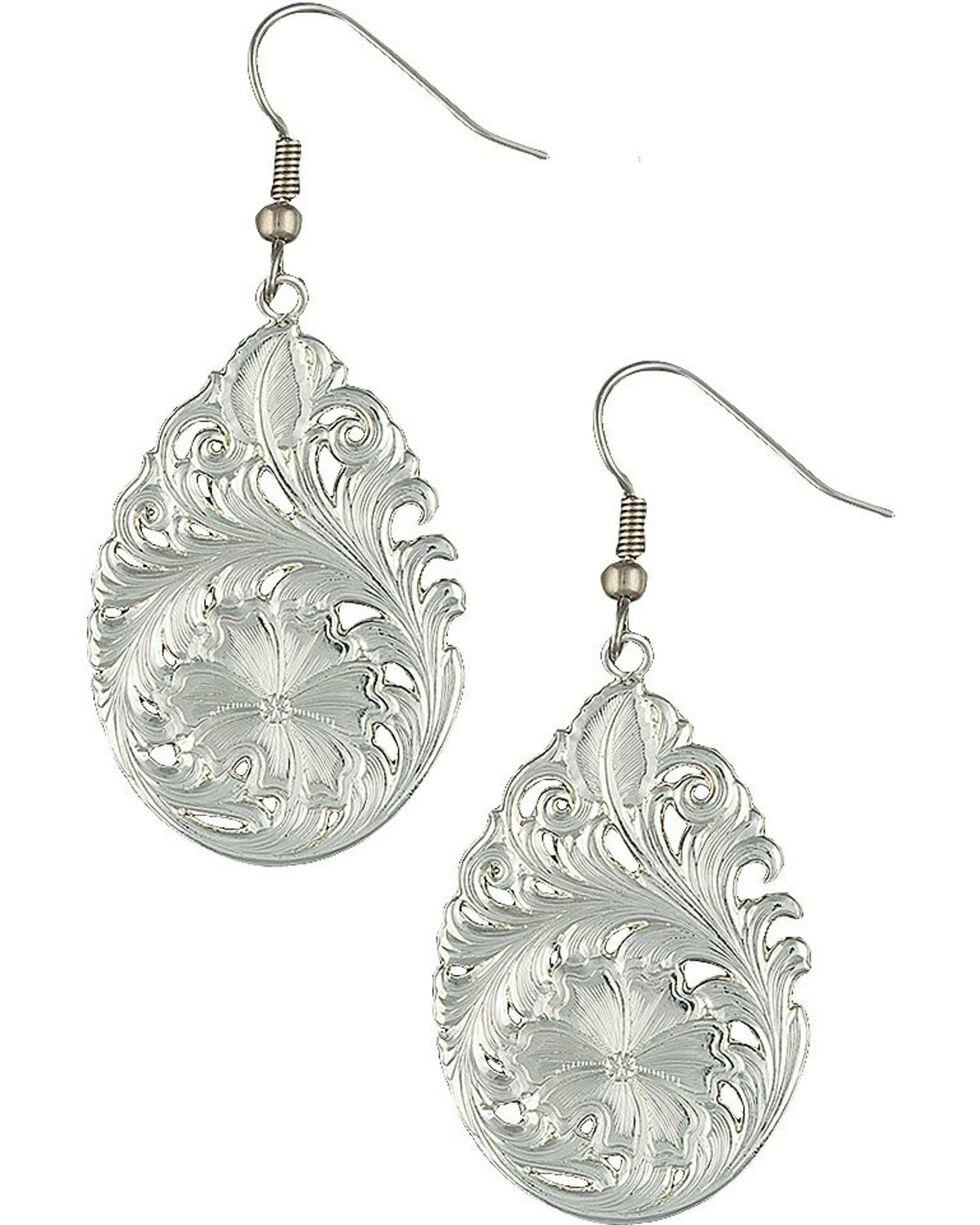 Montana Silversmiths Downy Flower Teardrop Earrings, Silver, hi-res