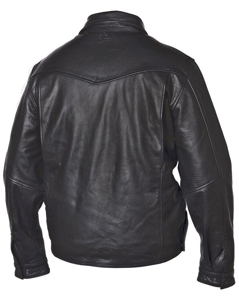 STS Ranchwear Men's Rifleman Black Leather Jacket - Big & Tall - 4XL, Black, hi-res
