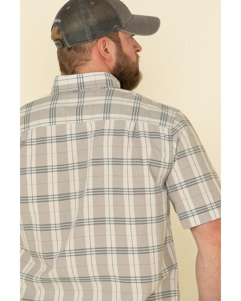 Carhartt Men's Steel Plaid Original Fit Midweight Short Sleeve Work Shirt , Steel, hi-res