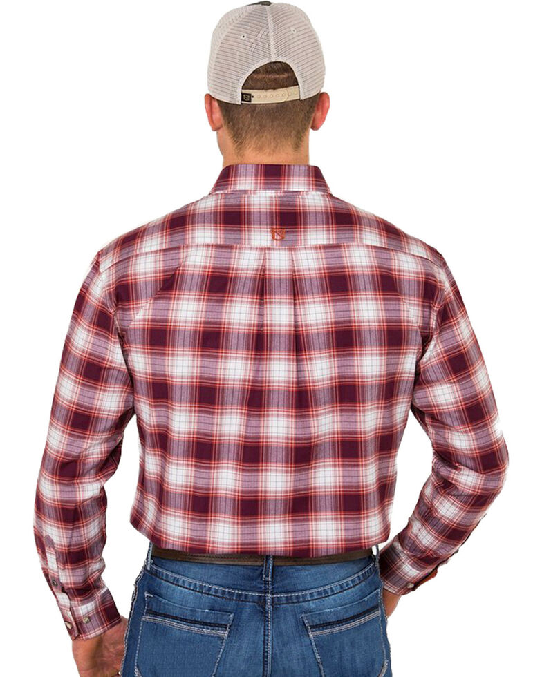 Noble Outfitters Men's Rust Plaid Long Sleeve Western Shirt , Rust Copper, hi-res
