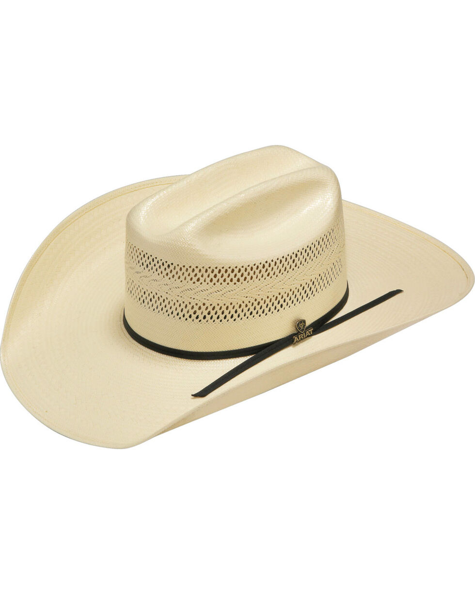 Ariat Men's 20X Natural Straw Vented Crown Cowboy Hat, Natural, hi-res