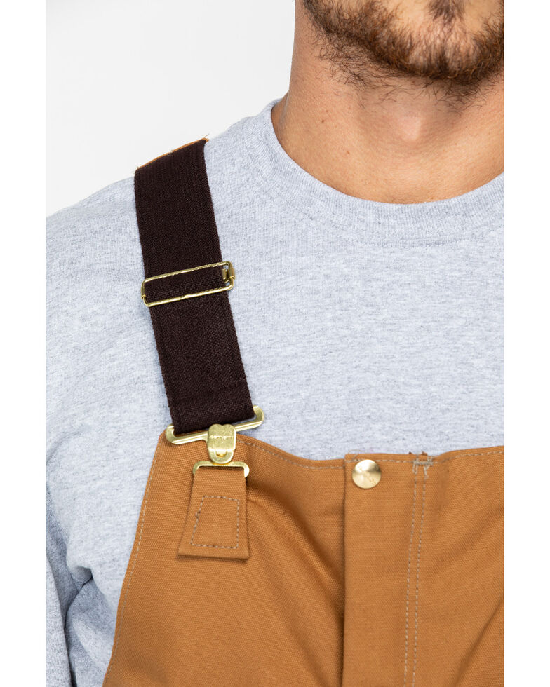 Carhartt Men's Duck Zip-To-Waist Quilt Lined Biberalls, Carhartt Brown, hi-res