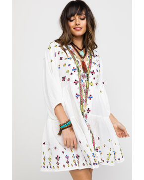 Free People Women's Light It Up Embroidered Tunic Top , White, hi-res