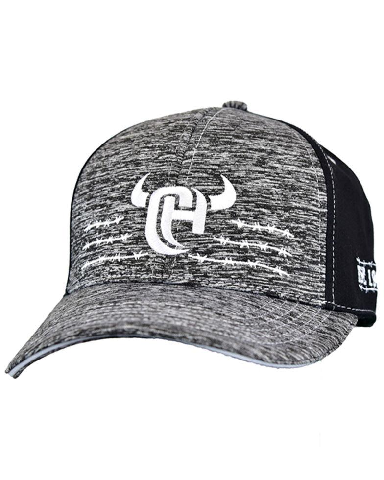 Cowboy Hardware Men's Heather Grey & Black CH Barbed Wine Embroidered Ball Cap , Black, hi-res
