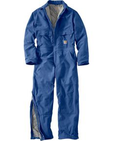 Carhartt Flame Resistant Quilt-Lined Duck Coveralls, Royal, hi-res
