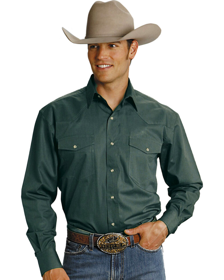 Roper Men's Amarillo Collection Solid Long Sleeve Western Shirt, Hunter Green, hi-res