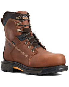 Ariat Men's Waterproof Workhog Work Boots - Composite Toe, Brown, hi-res