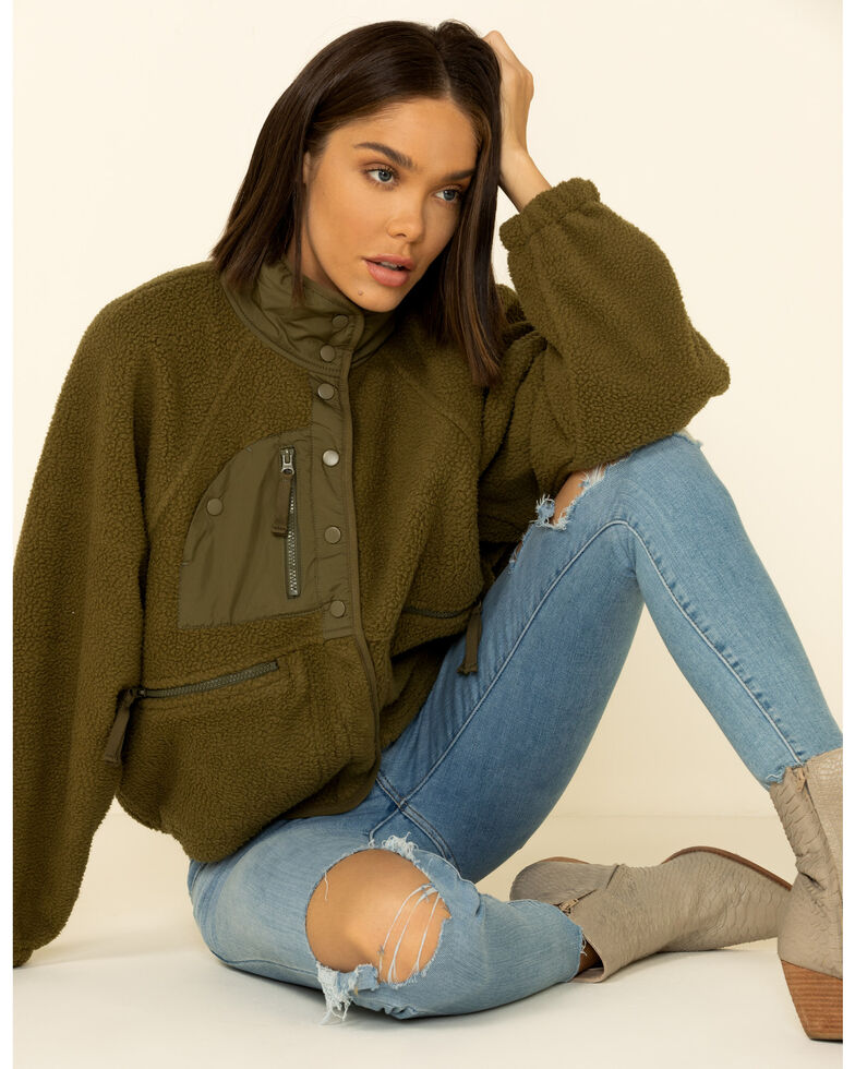 Free People Women's Army Hit The Slopes Jacket , Olive, hi-res