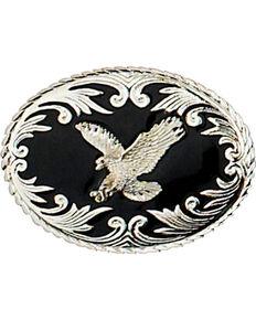 Western Express Men's Silver Eagle On Black Enamel Belt Buckle , Silver, hi-res