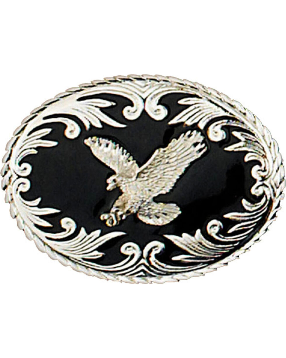 Western Express Men's Silver Eagle On Black Enamel Belt Buckle , Silver, hi-res