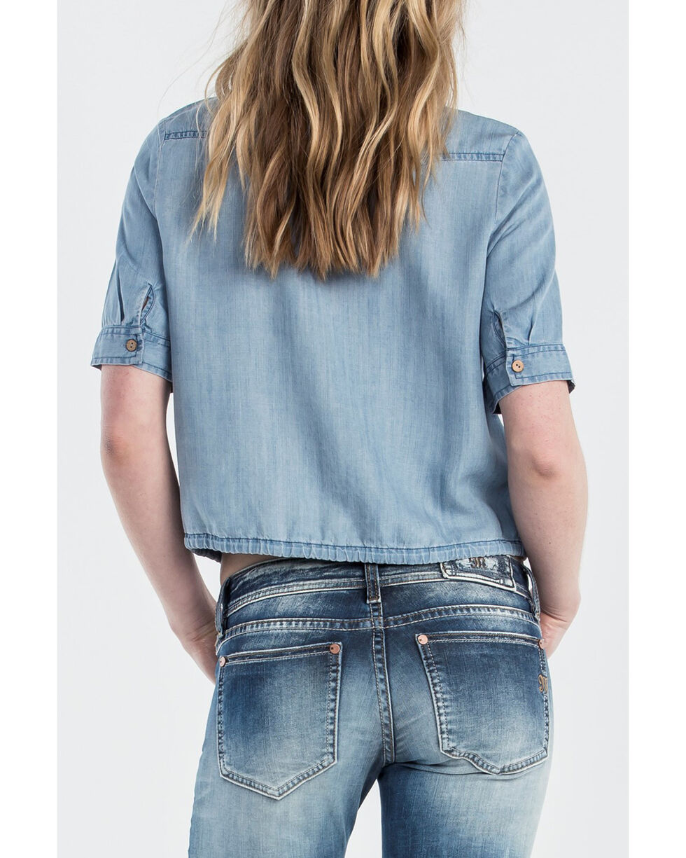 Miss Me Women's Denim Short Sleeve Crop Top, Indigo, hi-res
