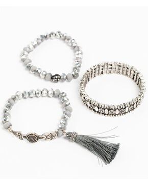 Shyanne Women's Slate Sparkle Grey Multi Beaded Bracelet Set, Slate, hi-res