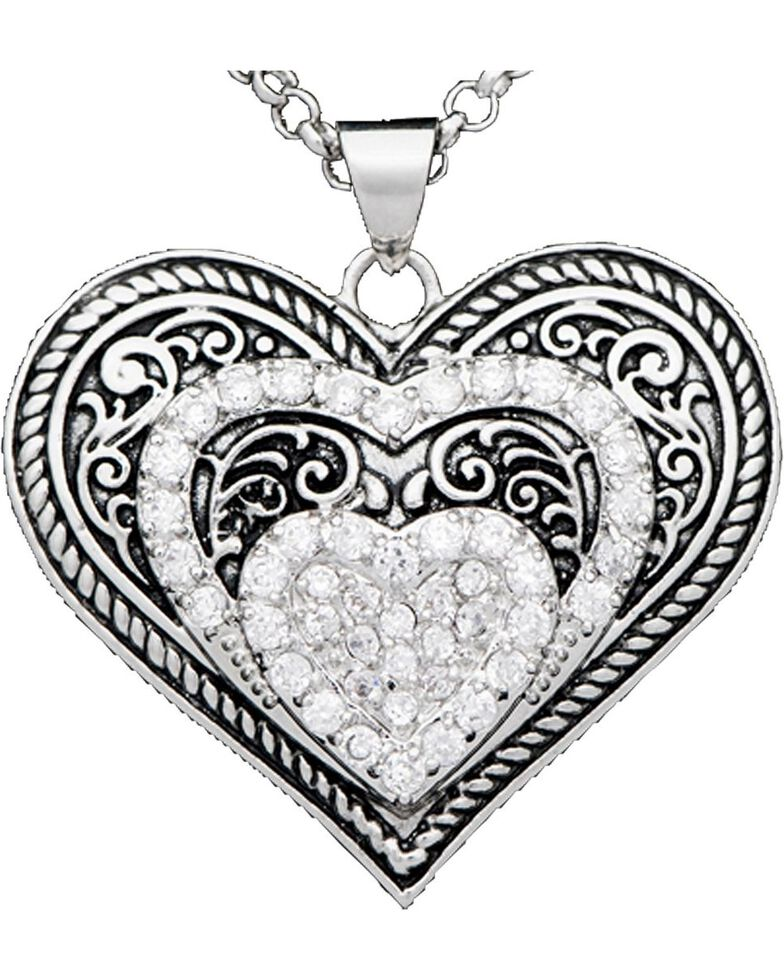 Montana Silversmith Heart Necklace and Earring Set, Silver, hi-res