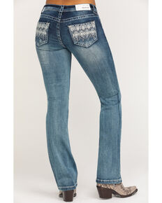 Grace in LA Women's Aztec Pocket Bootcut Jeans, Blue, hi-res