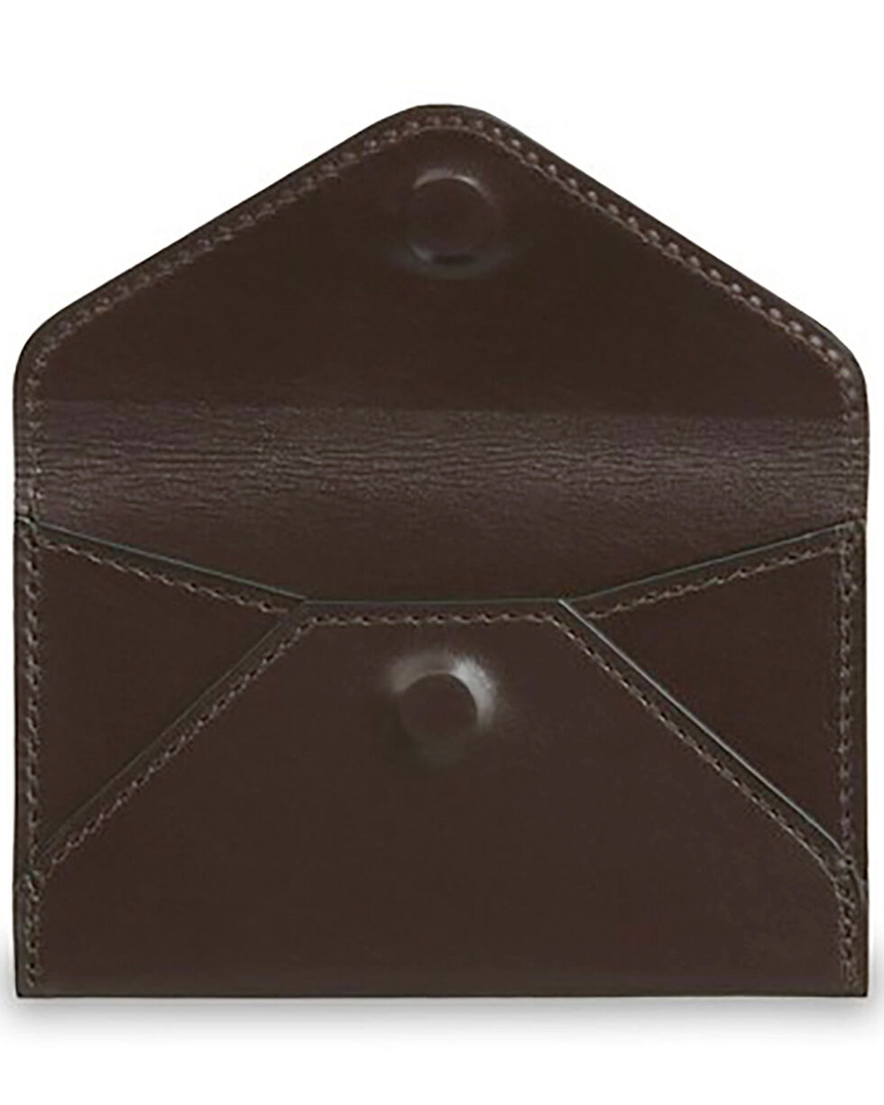 Lucchese Men's Brown Leather Business Card Case, Dark Brown, hi-res