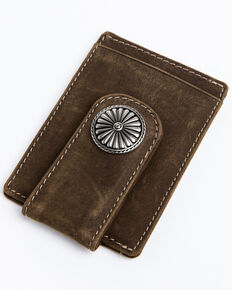 Cody James Men's Brown Embroidered Leather Money Clip Wallet , Brown, hi-res