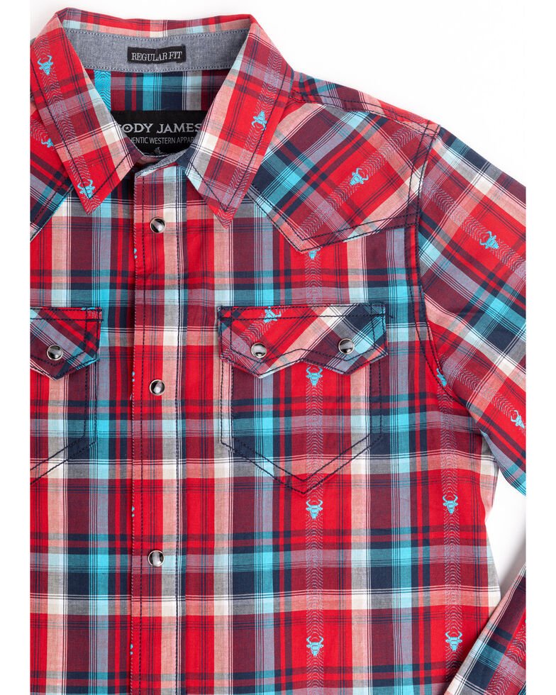 Cody James Boys' Bull Dobby Plaid Long Sleeve Western Shirt , Red, hi-res