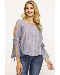 2470da711b4285 Shyanne Women s Solid Lurex Bell Tie Sleeve Top