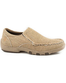 Roper Men's Chomp Slip-On Shoes - Moc Toe, Tan, hi-res