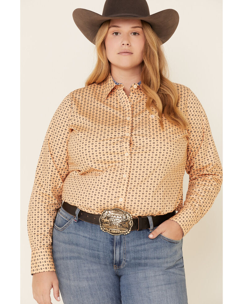 Ariat Women's Peach Geo Print Kirby Long Sleeve Western Shirt - Plus, Peach, hi-res